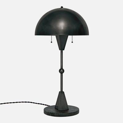 Dome Table Lamp - Ebonized Brass - Black Marble Base - Side View