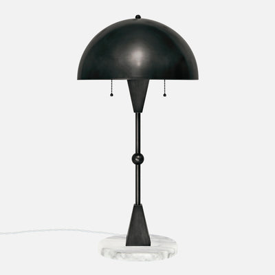 Dome Table Lamp - Ebonized Brass - White Marble Base - Front View