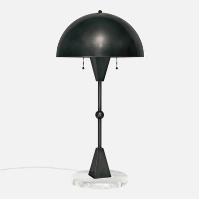 Dome Table Lamp - Ebonized Brass - White Marble Base - Side View