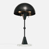 Dome Table Lamp - Ebonized Brass - White Marble Base - Upview