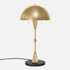 Dome Table Lamp - Burnished Brass - Black Marble Base - Front View
