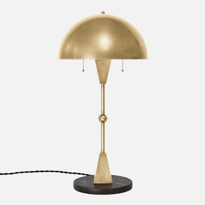 Dome Table Lamp in Satin Brass with Black Marble Base - Front View