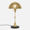 Dome Table Lamp - Burnished Brass - Black Marble Base - Side View