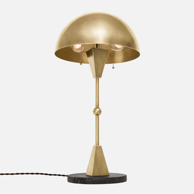 Dome Table Lamp - Burnished Brass - Black Marble Base - Upview