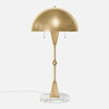 Dome Table Lamp - Burnished Brass - White Marble Base - Front View