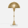 Dome Table Lamp - Burnished Brass - White Marble Base - Side View