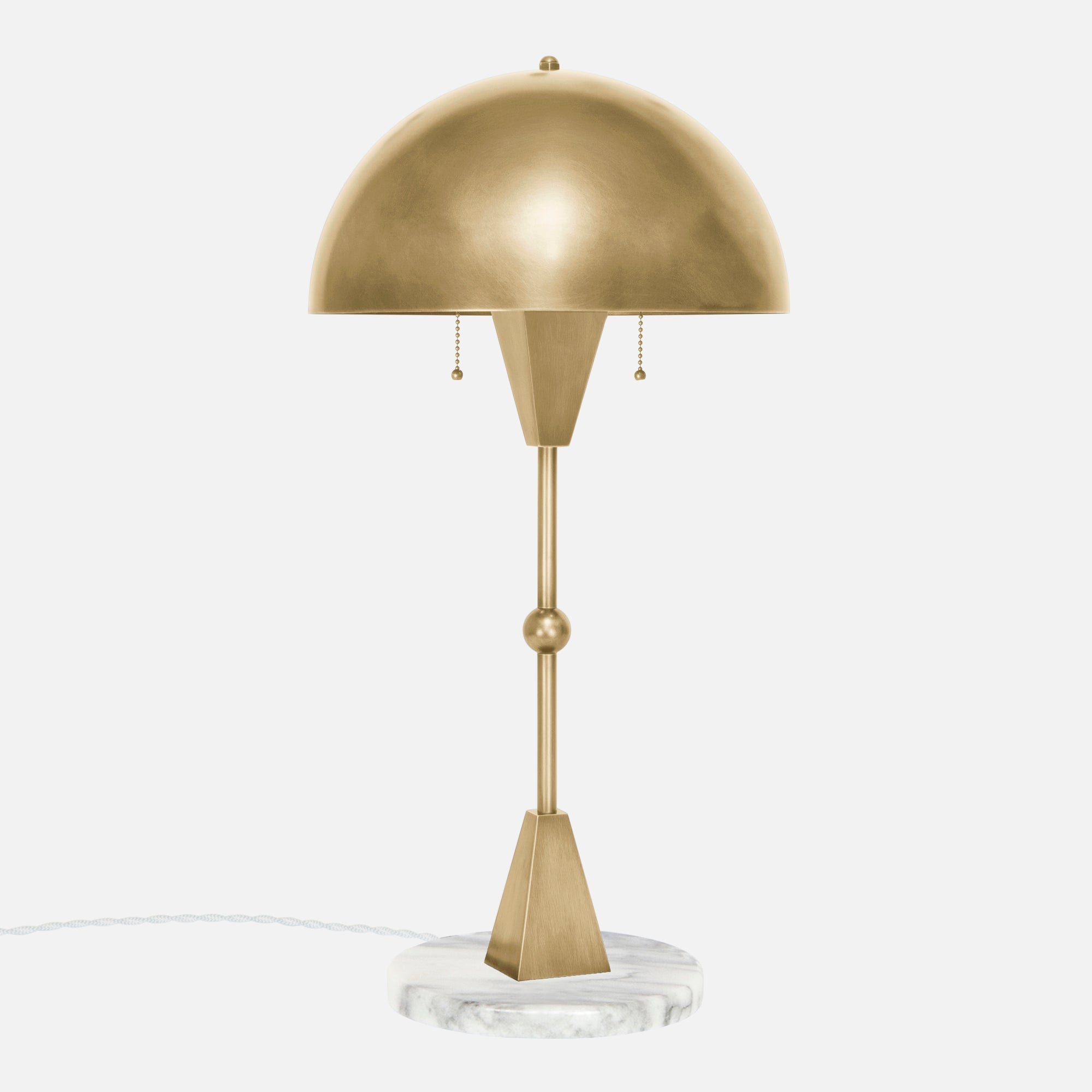 Dome Table Lamp in Satin Brass with White Marble Base - Side View