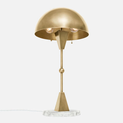 Dome Table Lamp - Burnished Brass - White Marble Base - Upview