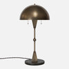 Dome Table Lamp in Vintage Brass with Black Marble Base - Front View
