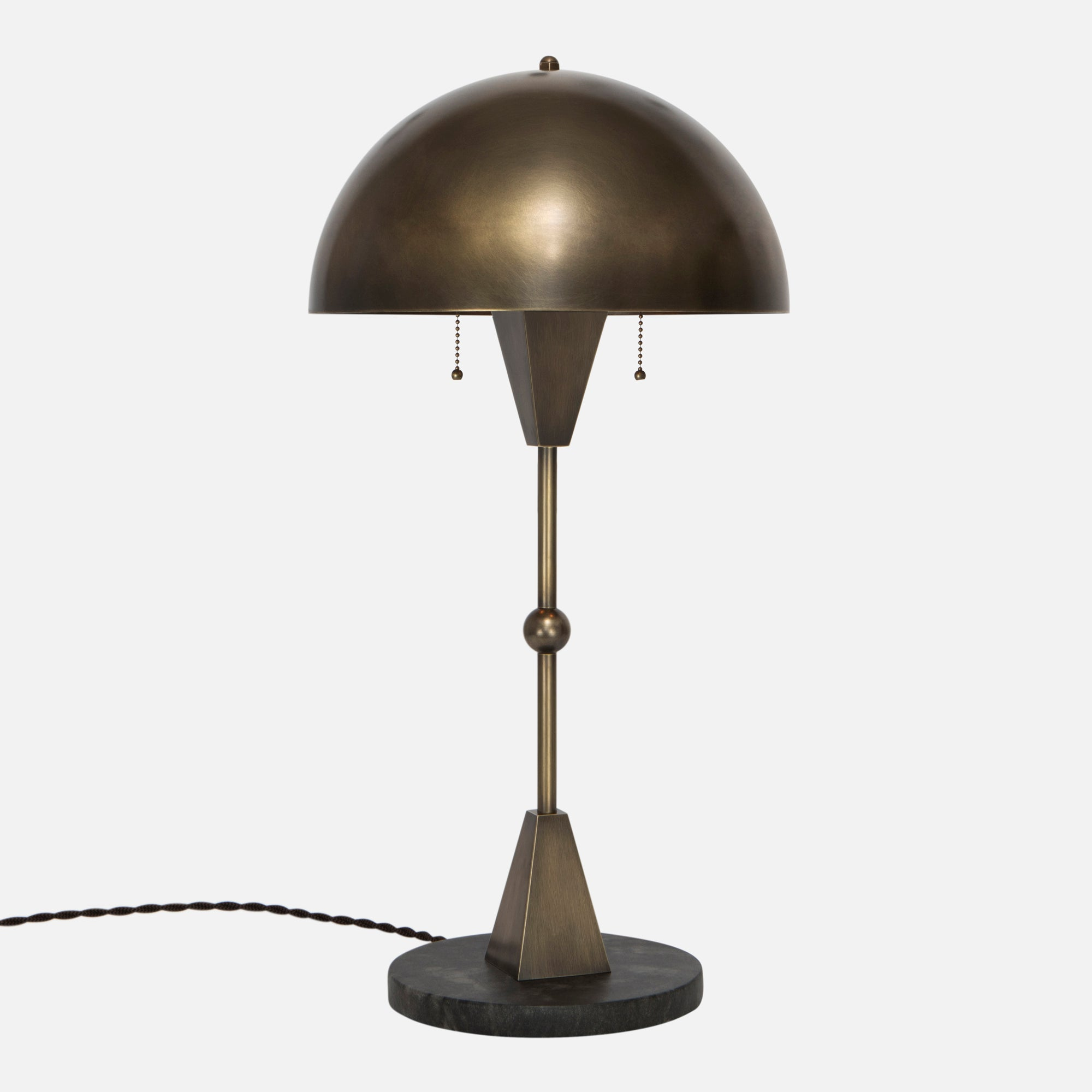 Dome Table Lamp   Vintage Brass   Black Marble Base   Side View