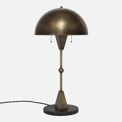 Dome Table Lamp - Vintage Brass - Black Marble Base - Side View