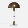 Dome Table Lamp - Vintage Brass - White Marble Base - Front