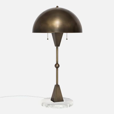 Dome Table Lamp in Vintage Brass with White Marble Base - Side