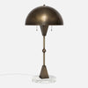 Dome Table Lamp - Vintage Brass - White Marble Base - Side