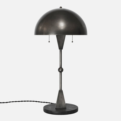 Dome Table Lamp in Vintage Nickel with Black Marble Base