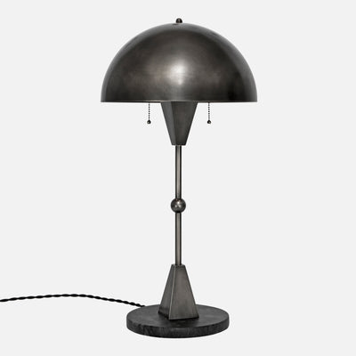 Dome Table Lamp in Vintage Nickel - Side View