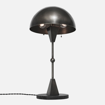 Dome Table Lamp - Vintage Nickel - Black Marble Base - Upview