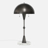 Dome Table Lamp - Vintage Nickel - White Marble Base - Front View