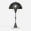 Dome Table Lamp - Vintage Nickel - White Marble Base - Side