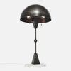 Dome Table Lamp - Vintage Nickel - White Marble Base - Upview