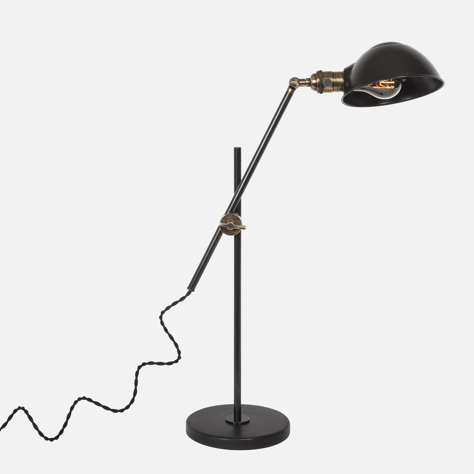Otis Desk Lamp in Blackened Steel with Vintage Brass Accents