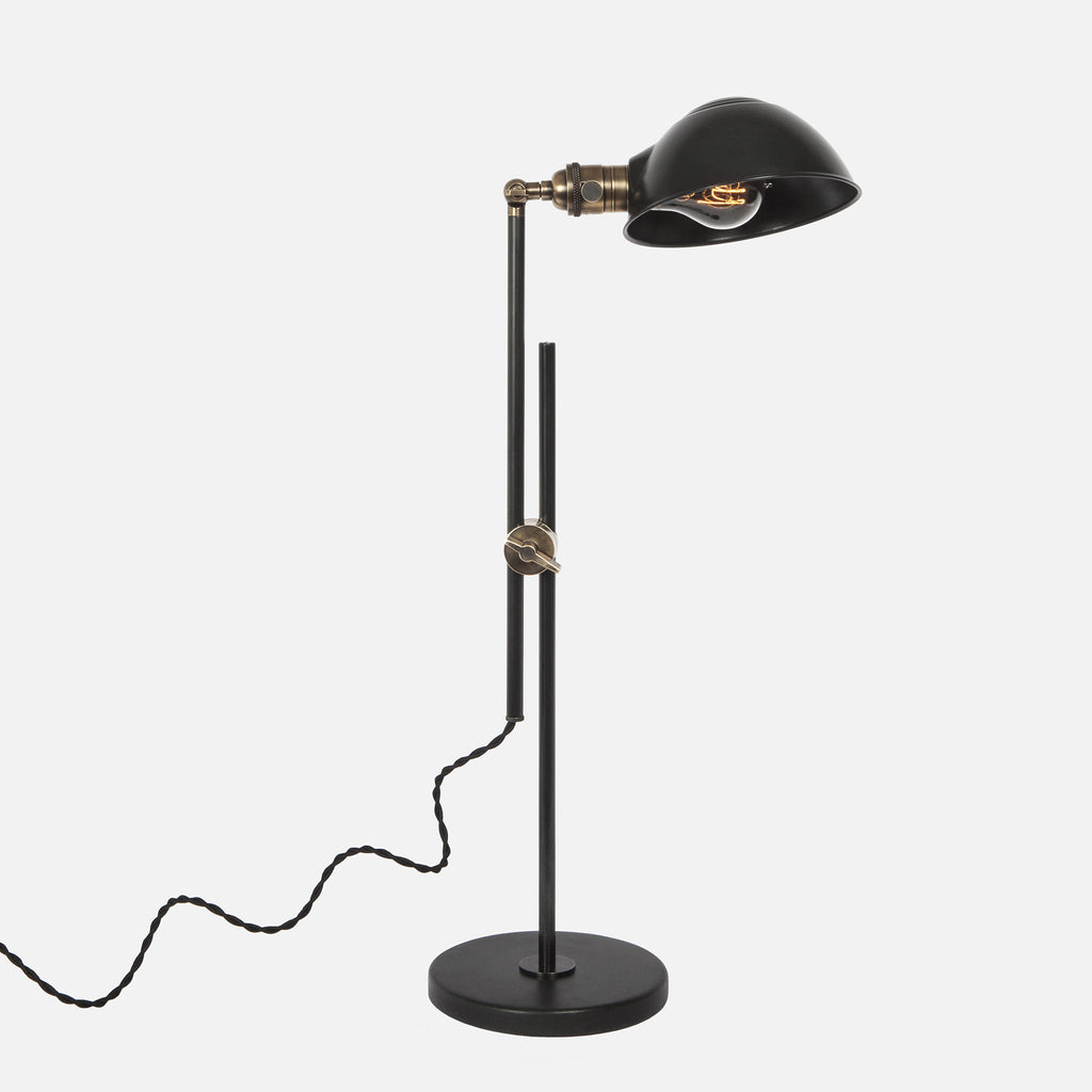 Otis Articulating Table Lamp w/ Adjustable Factory Shade - Upright View
