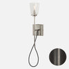 Modern Stemmed Wall Sconce - Bell Shade - Ebonized Brass
