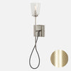 Modern Stemmed Wall Sconce - Bell Shade - Raw Brass