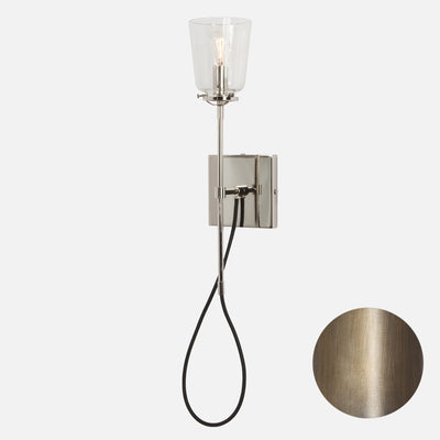 Modern Stemmed Wall Sconce - Bell Shade - Vintage Brass