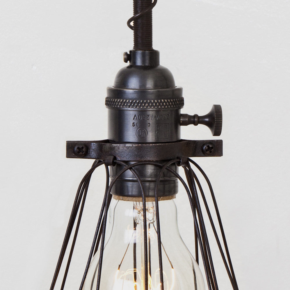 Basic Wire Bulb Cage Pendant Light - Brass Switch Socket - Detail