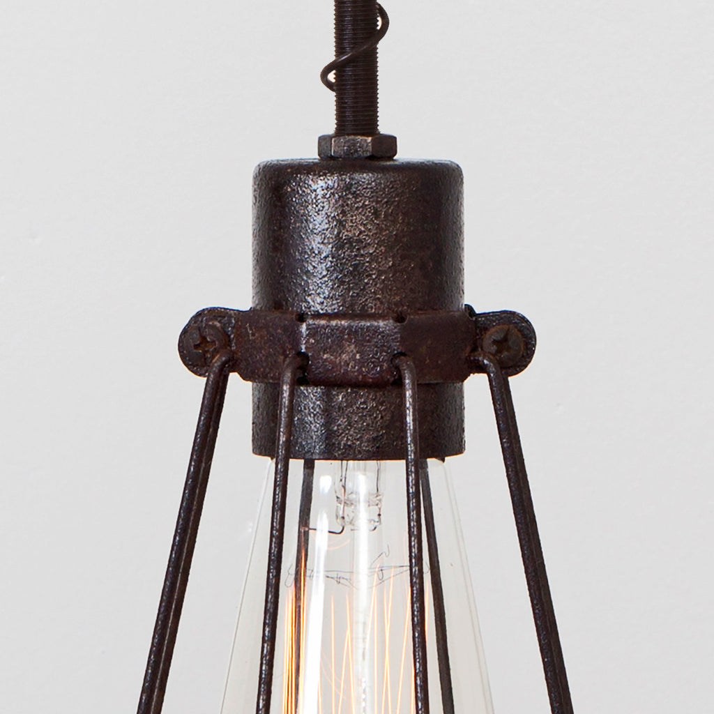 Oval Wire Bulb Cage Pendant Light - Simple Socket - Detail