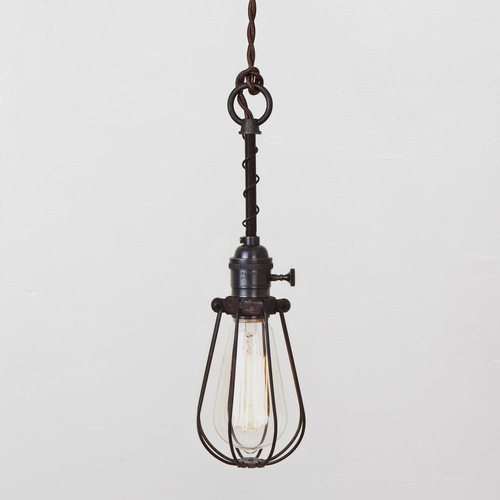 Oval Wire Bulb Cage Pendant Light - Switch Socket