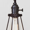Oval Wire Bulb Cage Pendant Light - Switch Socket - Detail