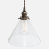 Vintage Socket Pendant Light - Clear Glass Cone Shade - Vintage Brass Patina