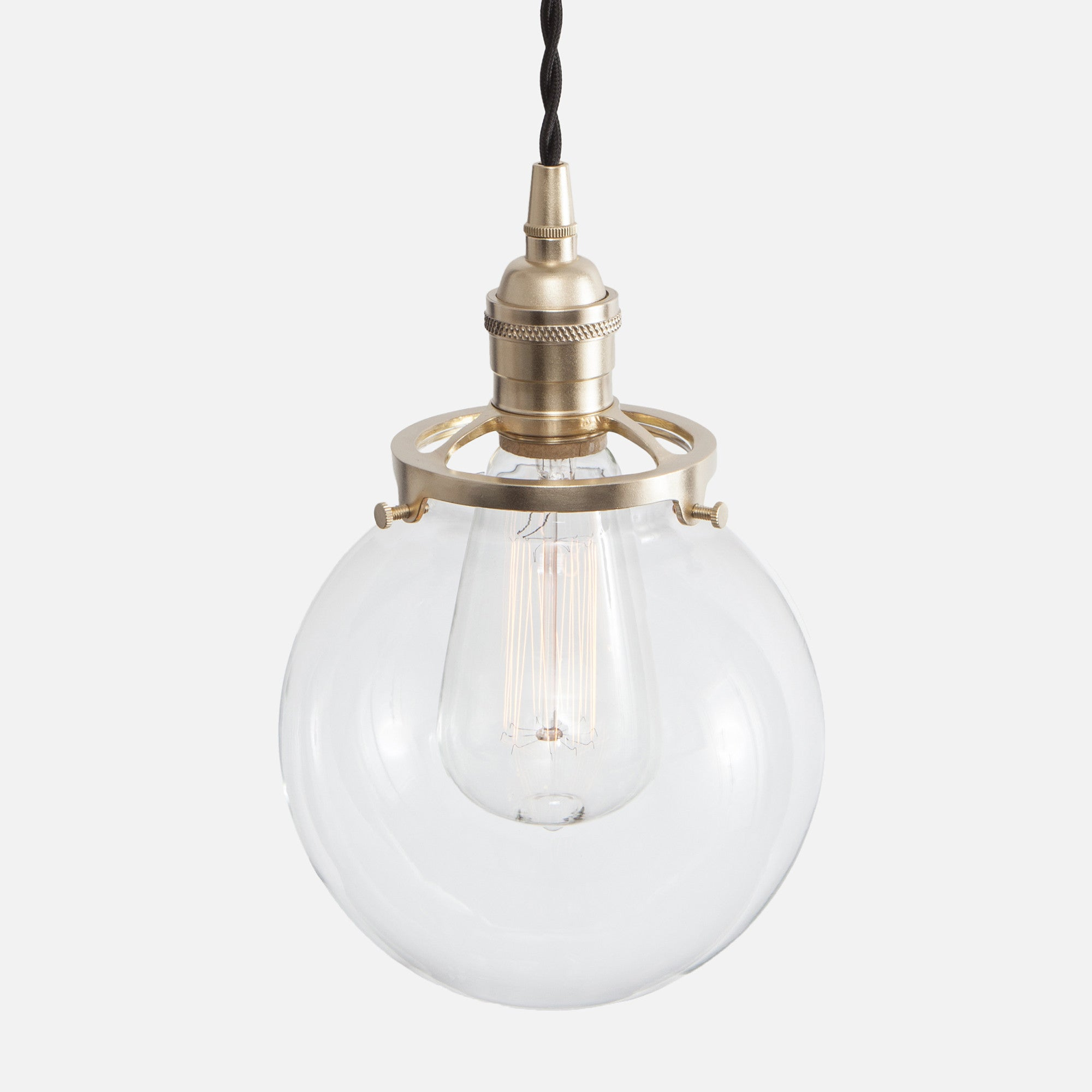 Clear Glass Globe Shade Pendant Light - Raw Brass Patina - Vintage Classic Socket