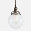 Clear Glass Globe Shade Pendant Light - Vintage Brass Patina - Vintage Classic Socket