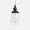 Vintage Socket Pendant Light - Clear Glass Straight Bell Shade - Ebonized Brass Patina