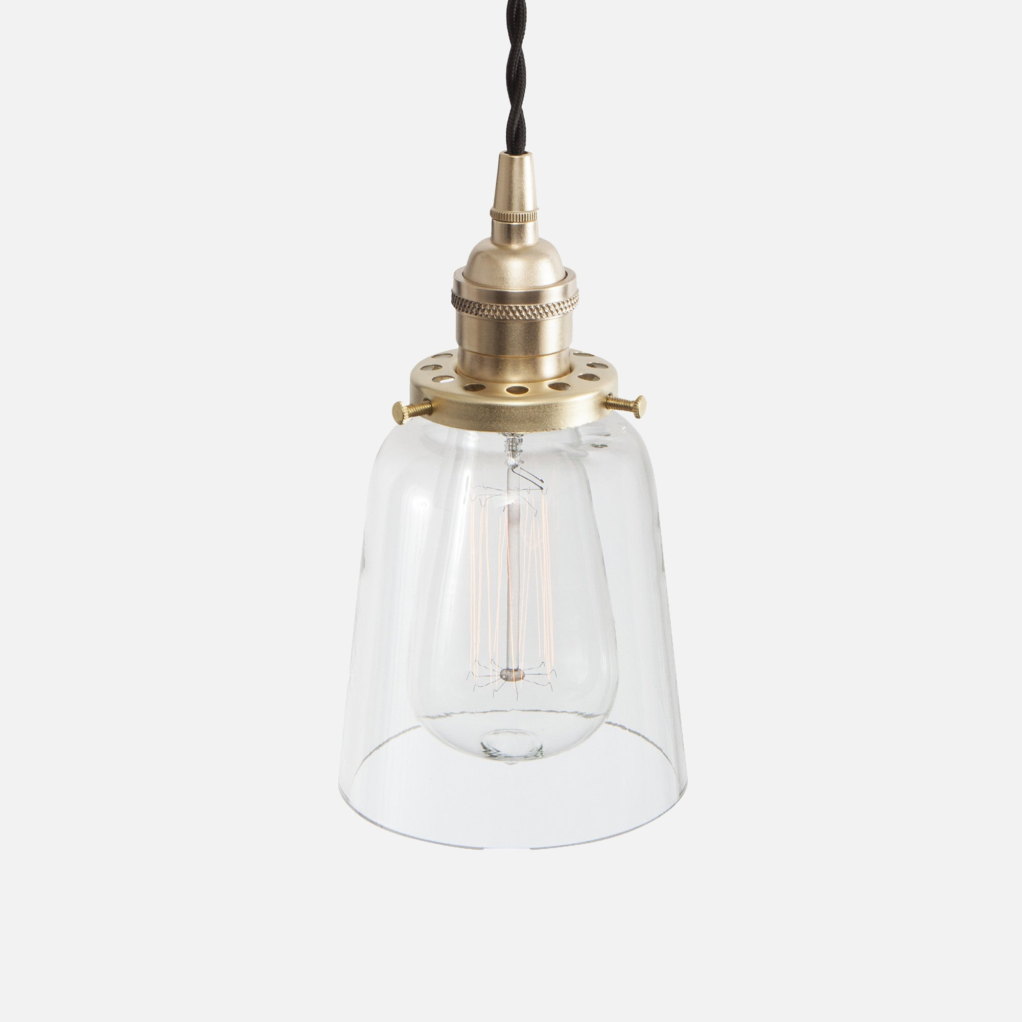 Vintage Socket Pendant Light - Clear Glass Straight Bell Shade - Raw Brass Patina