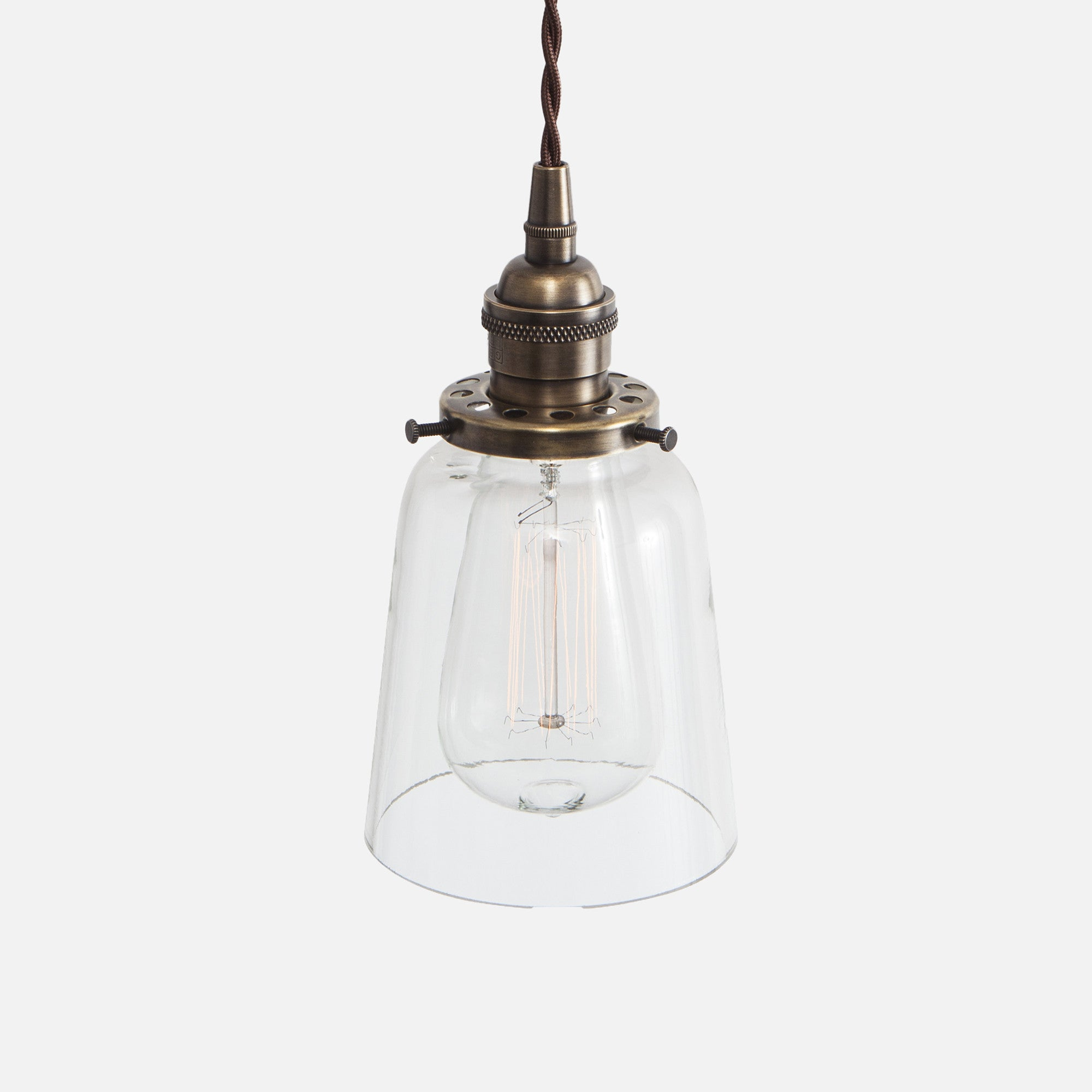 Vintage Socket Pendant Light - Clear Glass Straight Bell Shade - Vintage Brass Patina