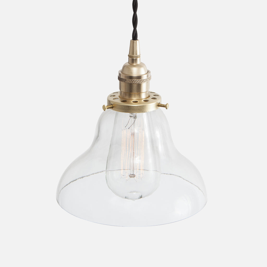 Vintage Classic Pendant Light - Clear Glass Curved Bell Shade - Raw Brass Patina