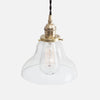 Vintage Socket Pendant Light - Clear Glass Curved Bell Cone Shade - Raw Brass Patina