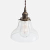 Vintage Classic Pendant Light - Clear Glass Curved Bell Shade - Vintage Brass Patina