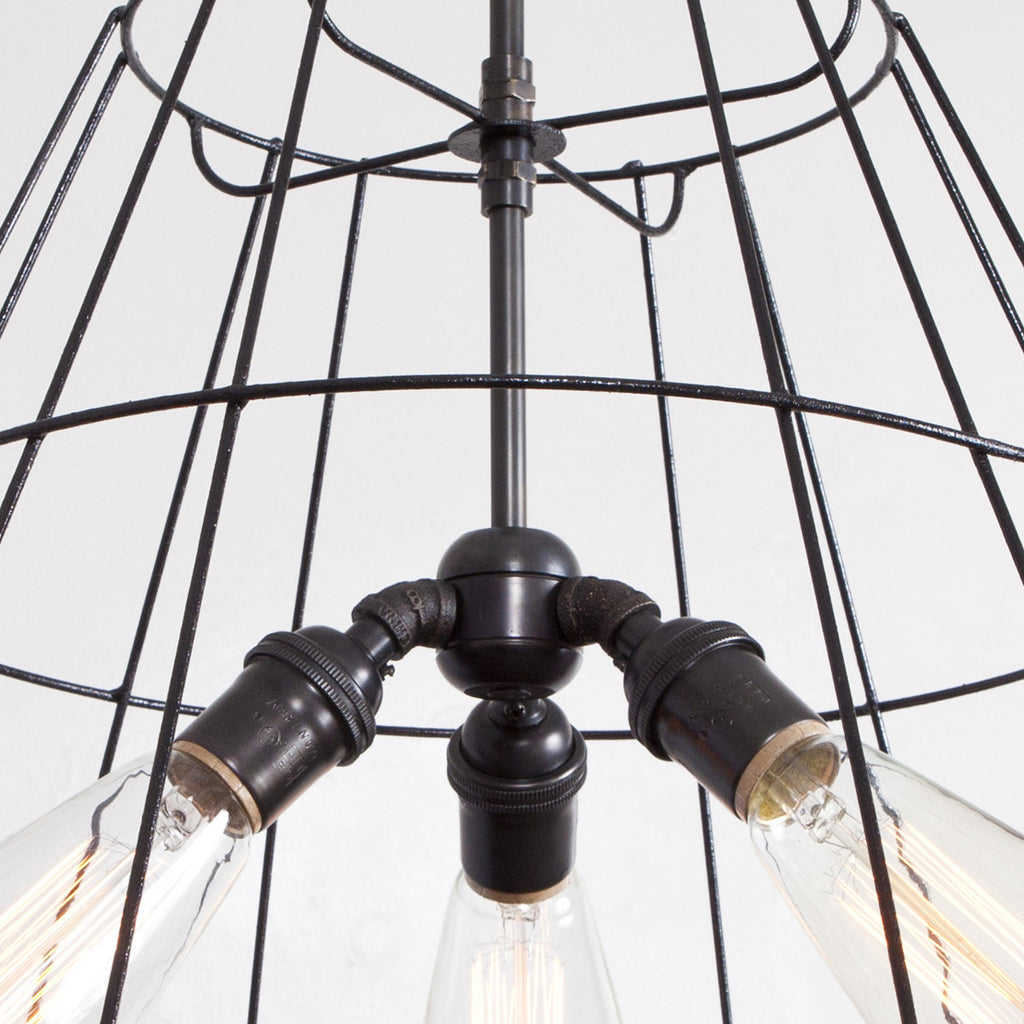 Vintage Lampshade Frame Chandelier - 3 Light - Detail