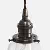 Vintage Classic Pendant Light - Clear Glass Curved Bell Shade - Detail - Ebonized Brass Patina
