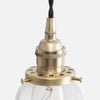 Vintage Socket Pendant Light - Clear Glass Straight Bell Shade - Detail - Raw Brass Patina