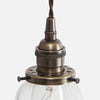 Vintage Socket Pendant Light - Clear Glass Curved Bell Shade - Detail - Vintage Brass Patina