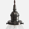 Vintage Socket Pendant Light - Clear Glass Cone Shade - Detail - Ebonized Brass Patina