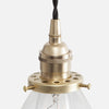 Vintage Socket Pendant Light - Clear Glass Cone Shade - Detail - Raw Brass Patina