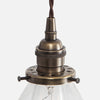 Vintage Socket Pendant Light - Clear Glass Cone Shade - Detail - Vintage Brass Patina