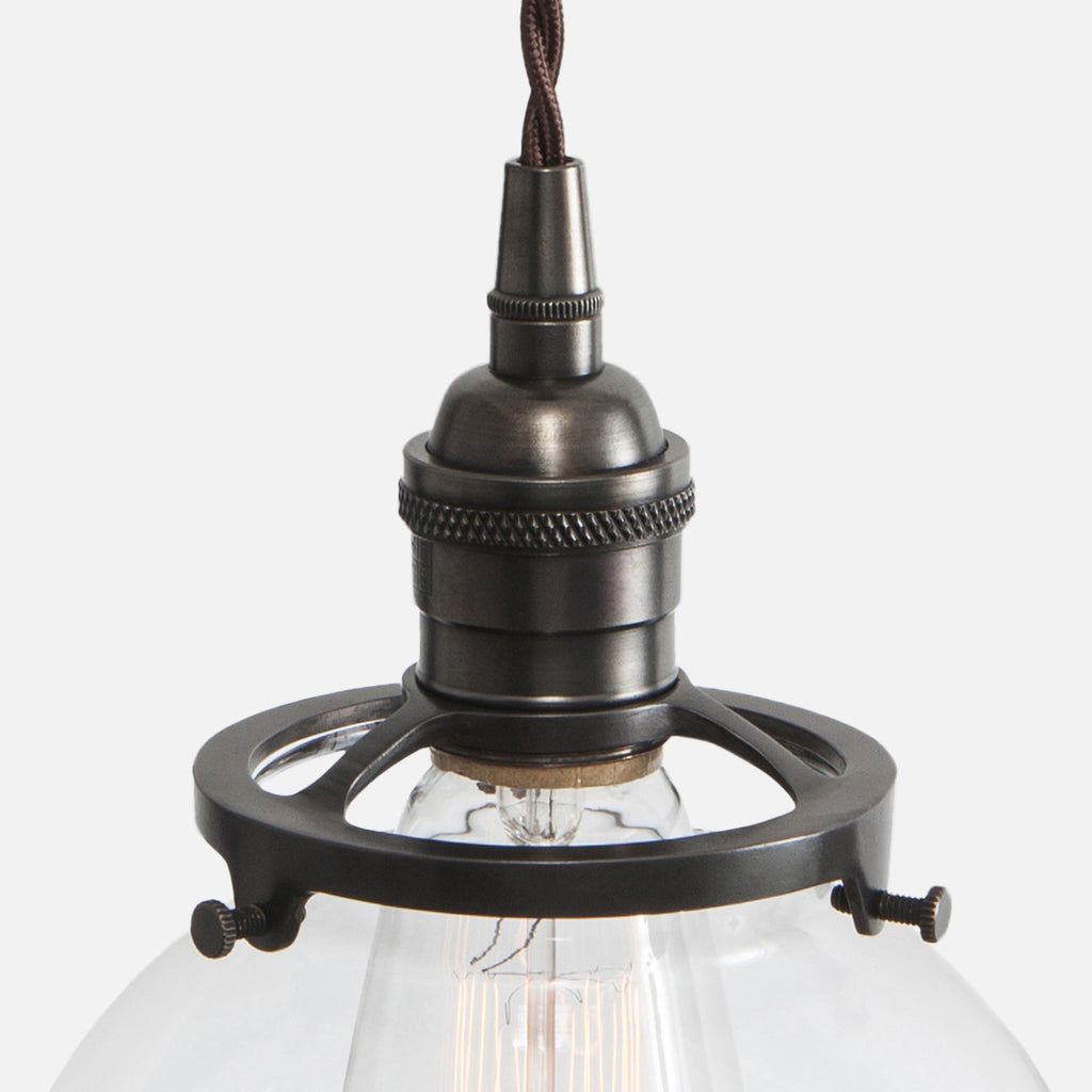 Vintage Brass Socket Detail - Clear Glass Globe Pendant Light- Ebonized Brass Patina